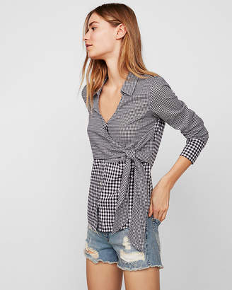 Express Mixed Gingham Tie Front Surplice Shirt