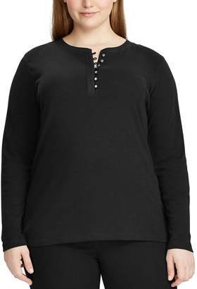 Chaps Plus Size Waffle-Knit Henley Top