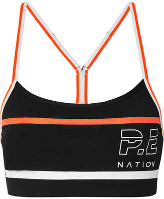 P.E Nation The Chariot Printed Stretch Sports Bra - Black