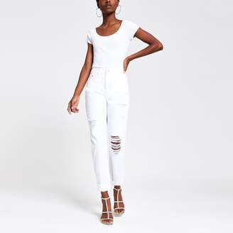 River Island Womens White Mom high rise jeans