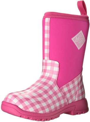 Muck Boot Kid's Breezy Mid Height Boot, Pink Gingham, Big Kid