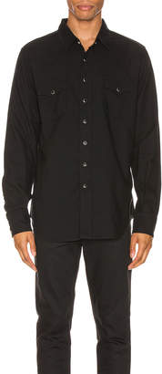 Saint Laurent Classic Western Twill Shirt in Black Rinse | FWRD