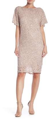 Marina Cowl Back Short Sleeve Sequin Dress