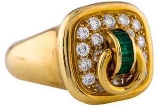 Christian Dior 18K Diamond & Emerald Ring