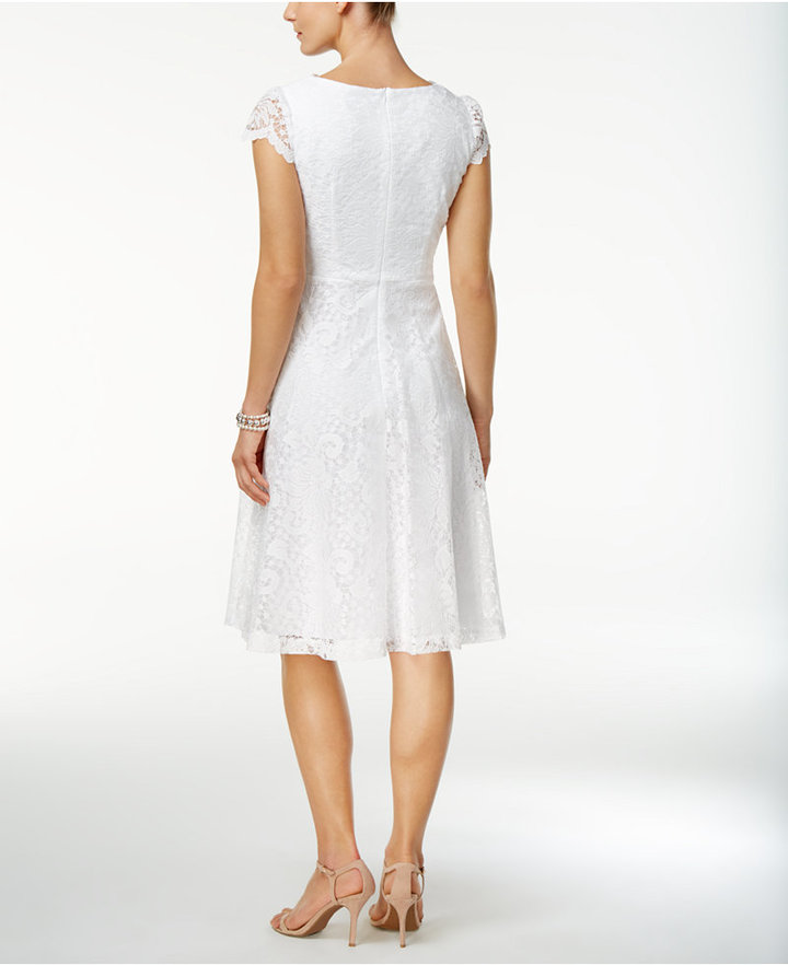 Connected Lace Fit & Flare Dress 2