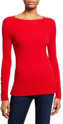 Neiman Marcus Ribbed Cashmere Peplum Sweater w/ Button Sleeve Detail