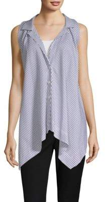 Donna Karan Stripe Sleeveless Trapeze Top