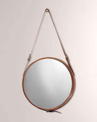 Jamie Young Large Round Mirror in Brown Leather