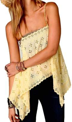 Free People New Romantics Wildflower Eyelet Cami Yellow
