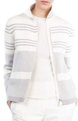 Akris Mock-Neck Zip-Front Reversible Cashmere Knit Jacket