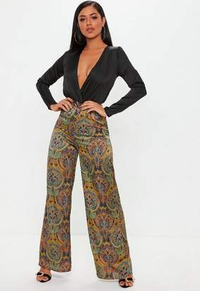 Missguided Tall Yellow Paisley Wide Leg Pants
