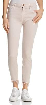 Mother Looker Dagger Lace-Trim Ankle Skinny Jeans in Blush
