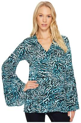 MICHAEL Michael Kors Big Cat Bell Sleeve Tunic Women's Blouse