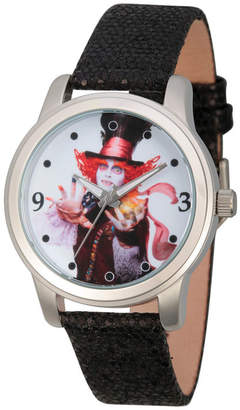 Disney Womens Alice In Wonderland Black And Silver Tone the Mad Hatter Strap Watch