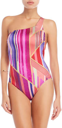 57a495876d Gottex Striped One-Shoulder One-Piece Swimsuit