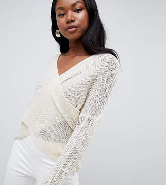 Parallel Lines Light Knit Sweater With Wrap Front