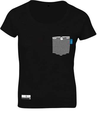 ANCHOR & CREW - Noir Black Marker Print Organic Cotton T-Shirt (Womens)