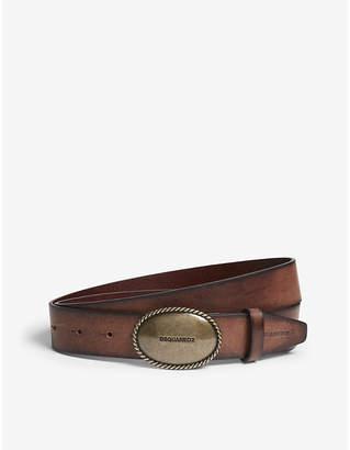 DSQUARED2 Oval buckle burnished leather belt