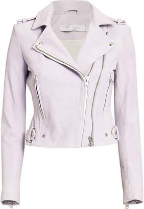 IRO Dylan Lilac Cropped Moto Jacket