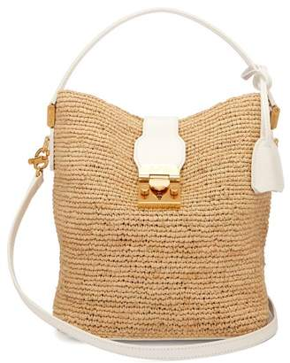 Mark Cross Murphy Raffia Bucket Bag - Womens - Beige White