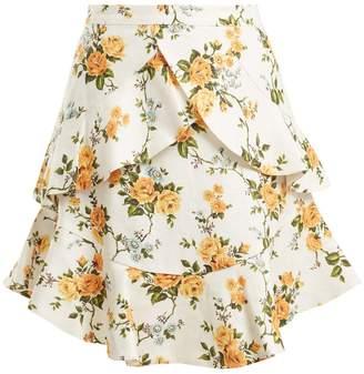 Zimmermann Golden Flutter floral-print linen skirt