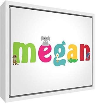 Camilla And Marc Little Helper Feel Good Art Girl's Name Framed Box Canvas with Solid Wooden Surround in Cute Illustrative Design (44 x 34 x 3 cm, Medium, Megan)