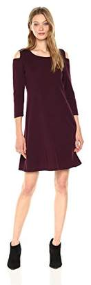 Nine West Women's 3/4 Sleeve a-Line Cold Shoulder Dress