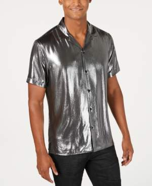 INC International Concepts I.n.c. Men's Astro Metallic Camp Shirt, Created for Macy's
