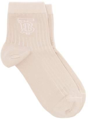 Burberry Tb Ribbed Cotton Blend Socks - Womens - Camel