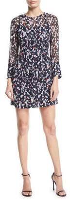 Club Monaco Delaynee Printed Pintuck Silk Short Dress