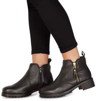 Faith Black Leather 'Bea' Mid Block Heel Ankle Boots