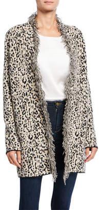 Neiman Marcus Leopard-Print Open-Front Fringe Cardigan