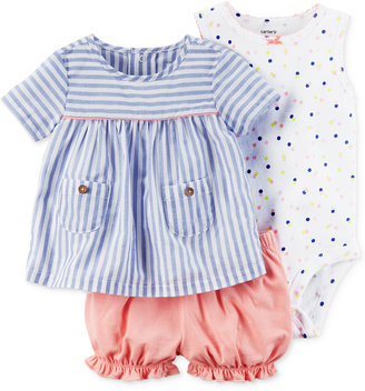Carter's 3-Pc. Striped Top, Bodysuit & Bubble Shorts Set, Baby Girls (0-24 months) $26 thestylecure.com