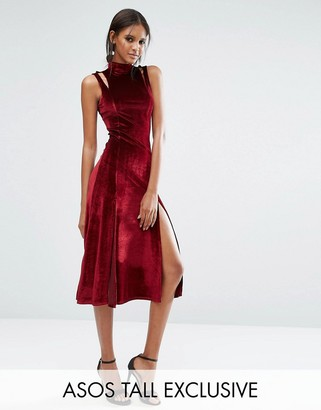 ASOS Tall ASOS TALL Velvet Midi Dress With Splices And Cut Out Shoulder Detail $58 thestylecure.com