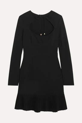 Rebecca Vallance Beltrán Pleated Cutout Crepe Mini Dress - Black