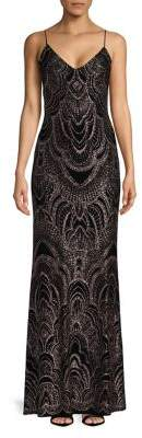 Jump Embossed Floor-Length Gown