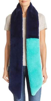 Heurueh Color-Block Faux Fur Skinny Scarf