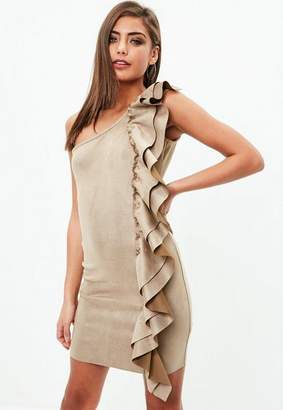 Missguided Tan Faux Suede Ruffle One Shoulder Bodycon Dress