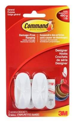3M Command Small Designer Hooks (Pack of 2)