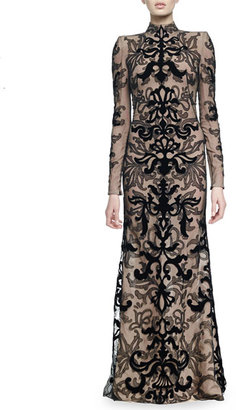 Velvet Damask Lace Gown