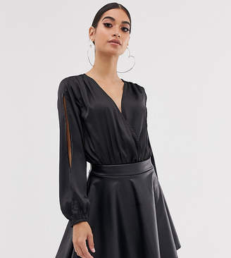 Club L London Petite satin wrap front body in black