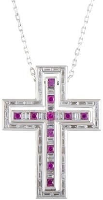 Damiani 18K White Gold 1.76 Ct. Tw. Diamond & Ruby Cross Necklace