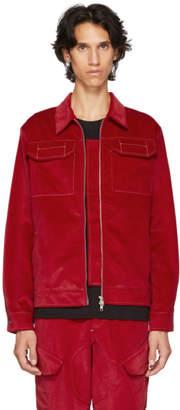Affix Red Velvet Zip Service Jacket
