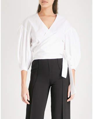 Mo&Co. Wrap-front balloon-sleeve cotton blouse