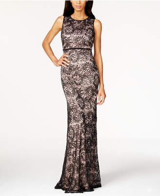 Night Way Nightway Petite Open-Back Sequined Lace Gown
