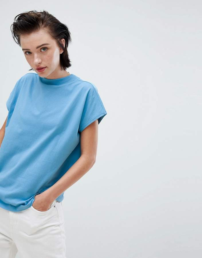 high neck t-shirt in light blue