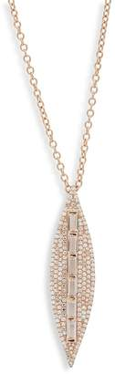 Ef Collection Women's Diamond, White Topaz and 14K Rose Gold Leaf Pendant Necklace