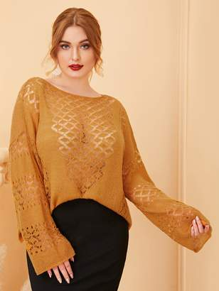 Shein Plus Drop Shoulder Hollow Out Sweater