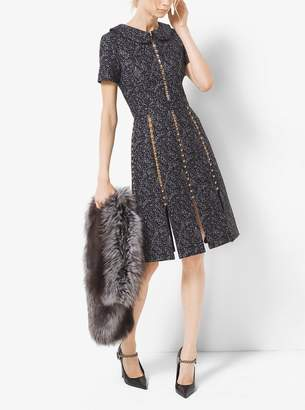 Michael Kors Studded Tweed Wool Jacquard Slashed Dress