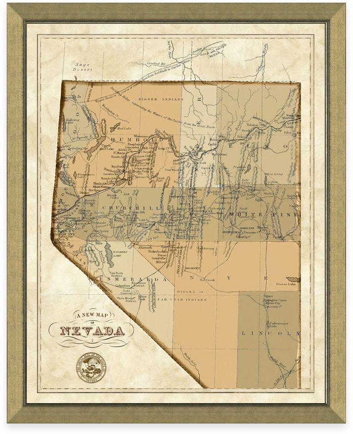 Map of Nevada Framed Print